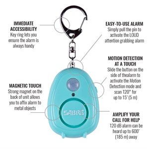 SABRE Personal Alarm with Motion Detector - Teal
